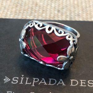Silpada 925 Sterling Berry Glass Artisan Ring Sz 8